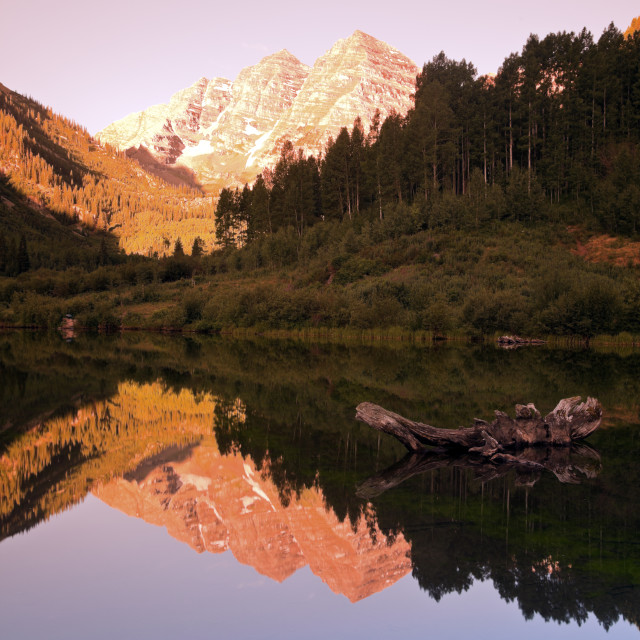 """""""Maroon Bells - sunrise in the mountains"""" stock image"""