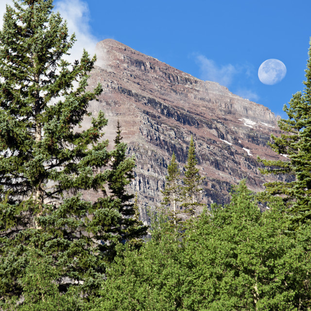 """Full Moon and Maroon Bells"" stock image"