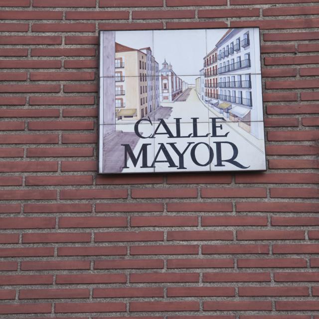 """Calle Mayor sign"" stock image"