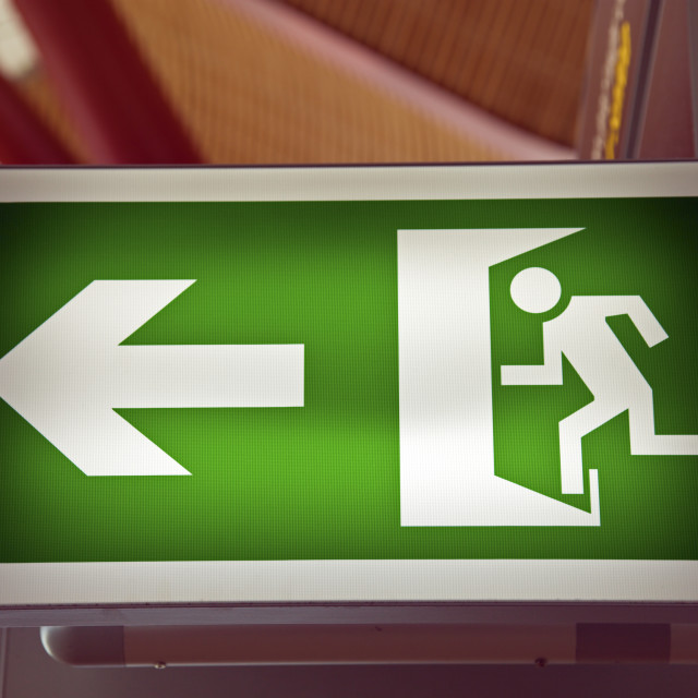 """Emergency Exit on the airport"" stock image"
