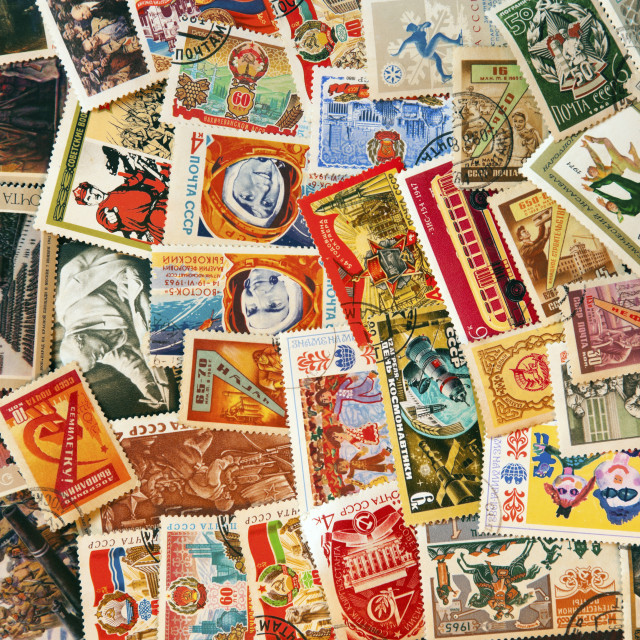 """Pile of used post stamps from Soviet Union"" stock image"