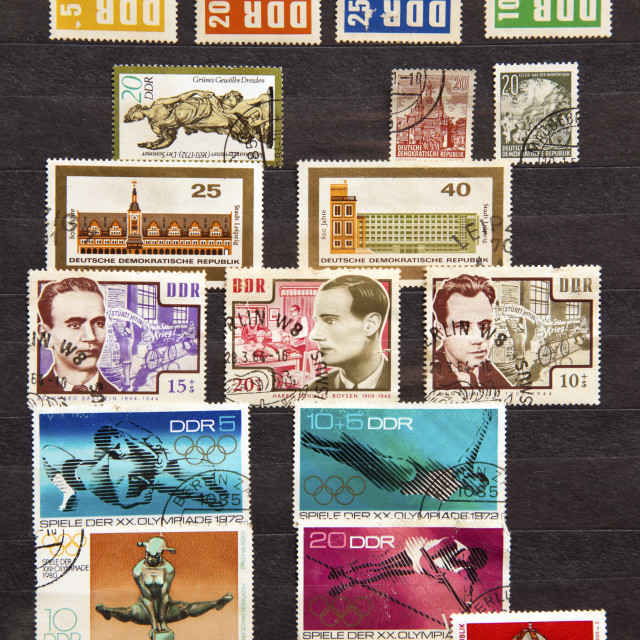 """Used stamps from communist East Germany"" stock image"