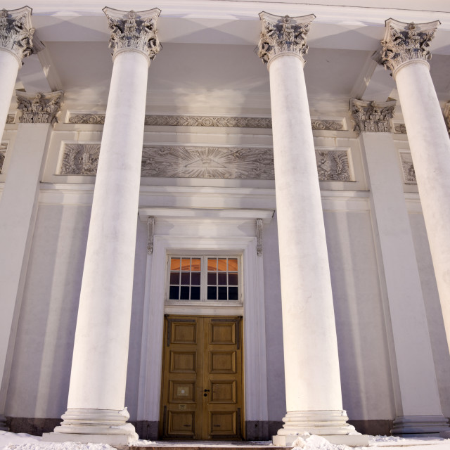 """""""Columns and door of Lutheran Cathedral"""" stock image"""