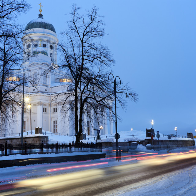 """""""Morning traffic by Lutheran Cathedral"""" stock image"""