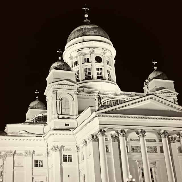 """""""B&W of Lutheran Cathedral"""" stock image"""