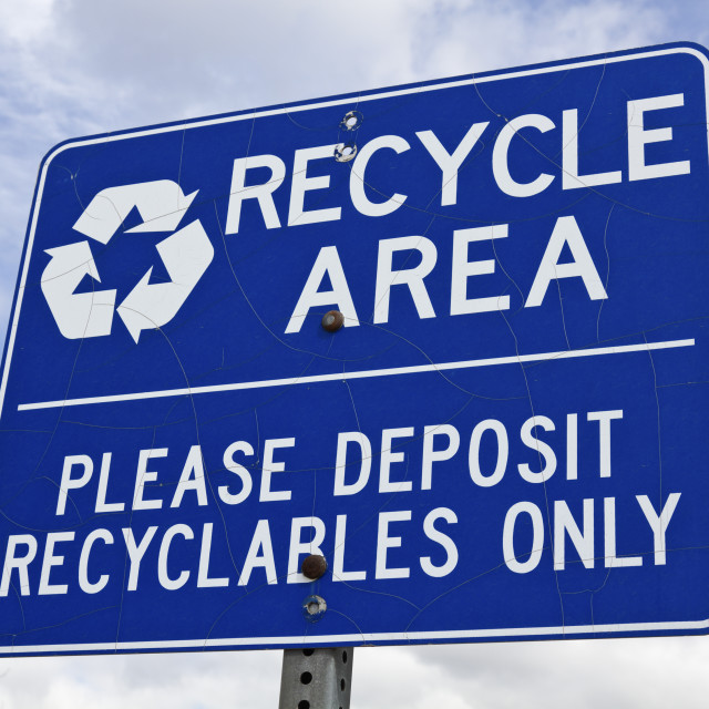 """""""Recycle area sign"""" stock image"""
