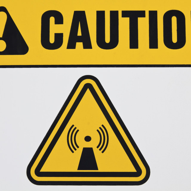 """Wireless radiation sign"" stock image"