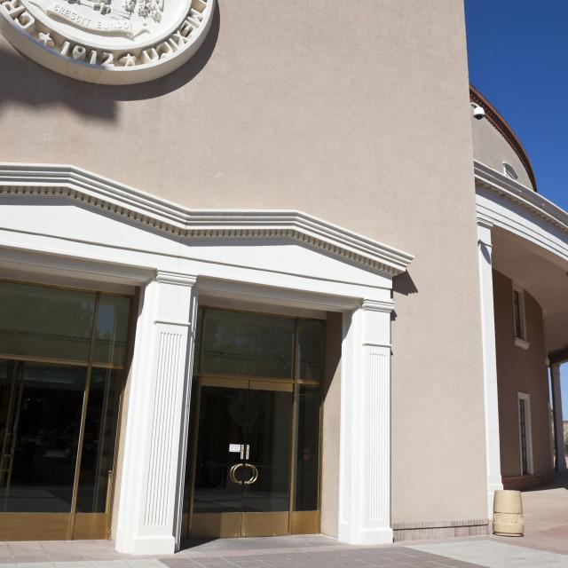 """""""State Capitol Building in Santa Fe"""" stock image"""