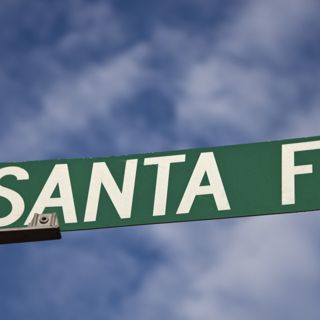 """Santa Fe sign"" stock image"