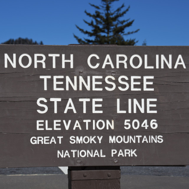 """Tennessee - North Carolina state line"" stock image"