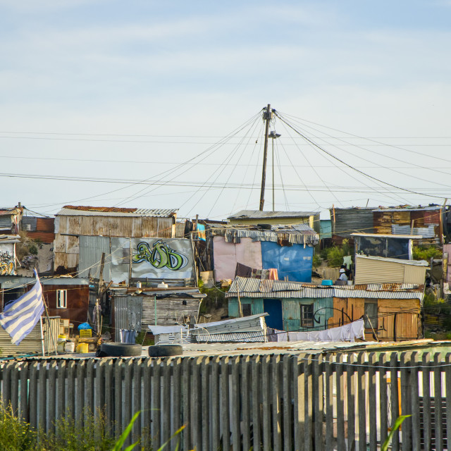 """Shanty town on the roadside, Cape Town, South Africa"" stock image"