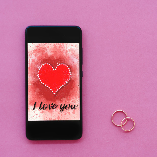 """""""Valentines day sale background on smartphone screen"""" stock image"""