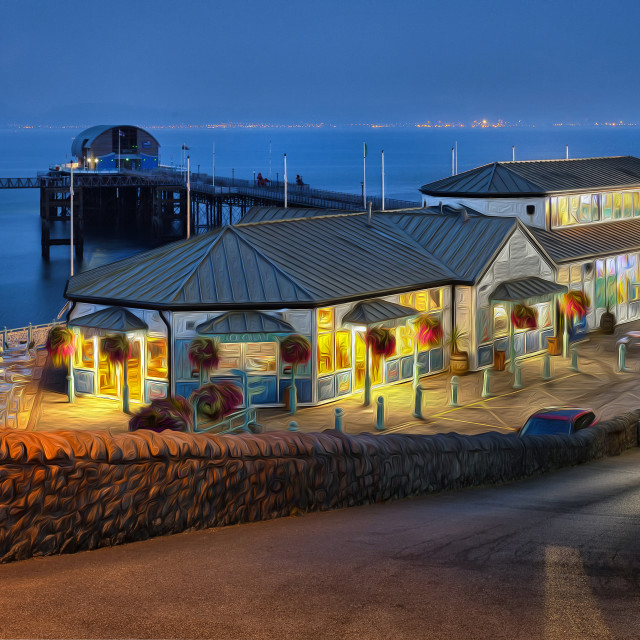 """""""Mumbles Pier and Beach Hut Cafe"""" stock image"""