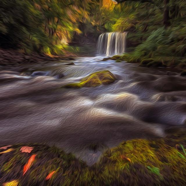 """Moody Sgwd yr Eira Waterfall"" stock image"