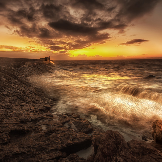 """""""Porthcawl Sunrise with an oil painting effect on the sea"""" stock image"""