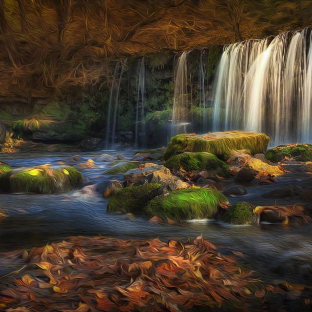 """Sgwd Ddwli Uchaf waterfall"" stock image"