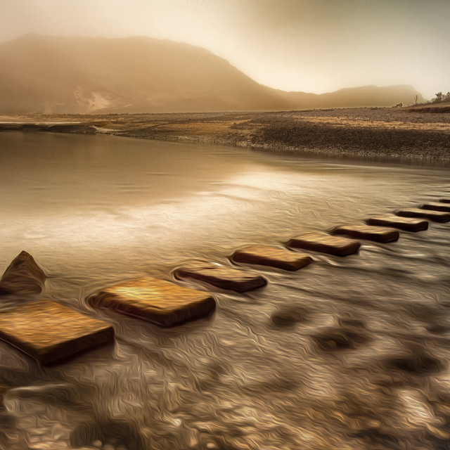 """""""Stepping stones with oil painting effect"""" stock image"""