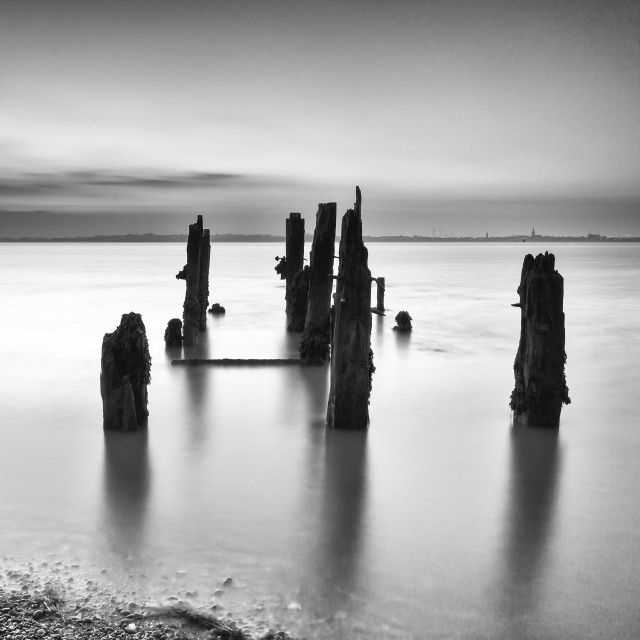 """Old jetty, Felixstowe, Suffolk"" stock image"
