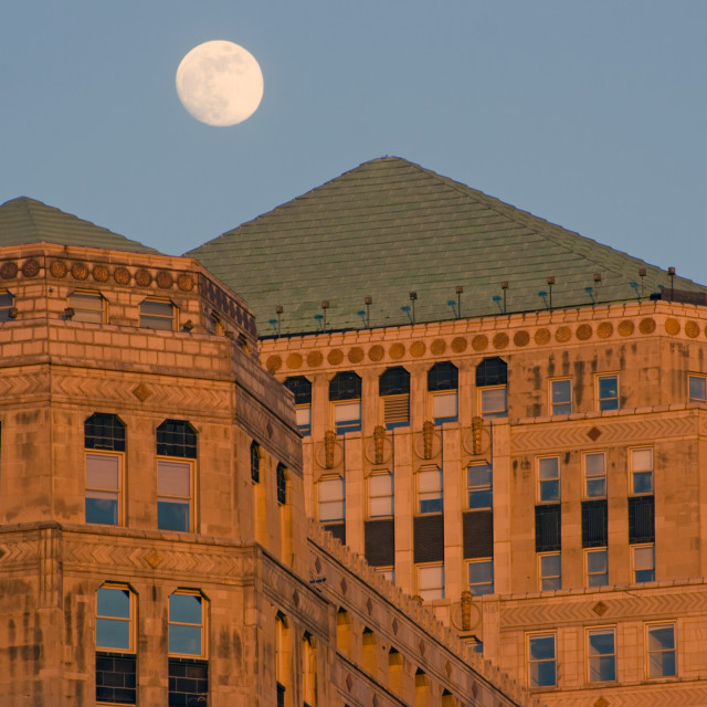 """Moon over Merchandise Mart"" stock image"