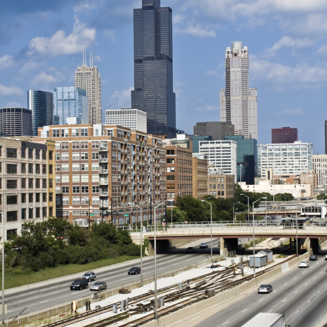 """Expressway to downtown Chicago"" stock image"