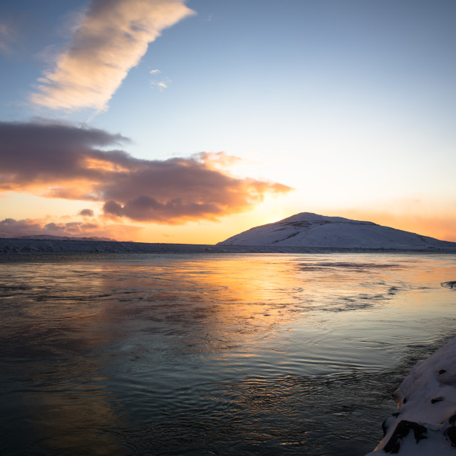 """Late November sunset at 3pm - Iceland"" stock image"