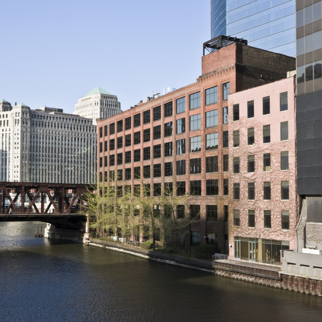 """Chicago River curve"" stock image"