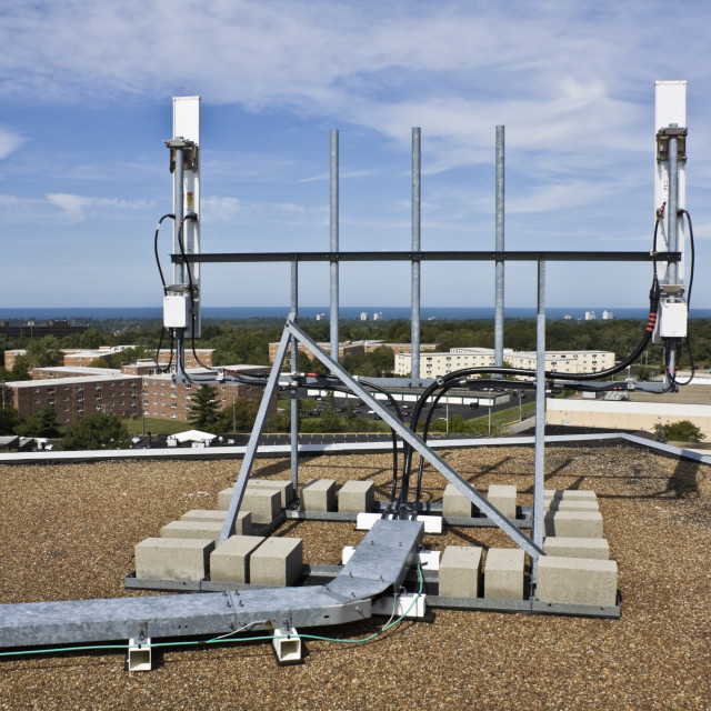 """""""Cellular antennas installed on the roof"""" stock image"""