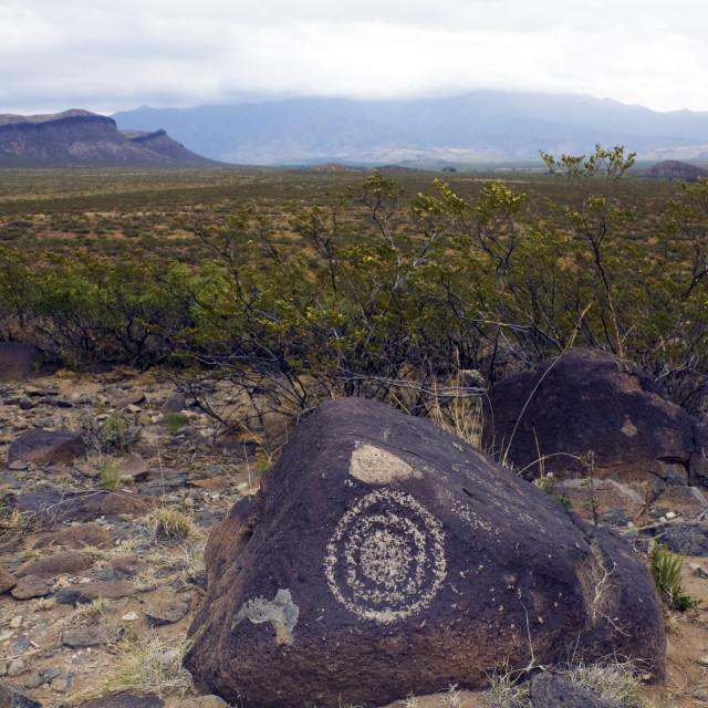 """Three Rivers Petroglyph Site"" stock image"