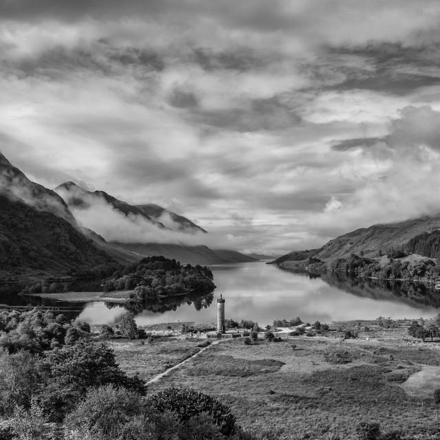 """""""Mist Morning at Loch Shiel"""" stock image"""