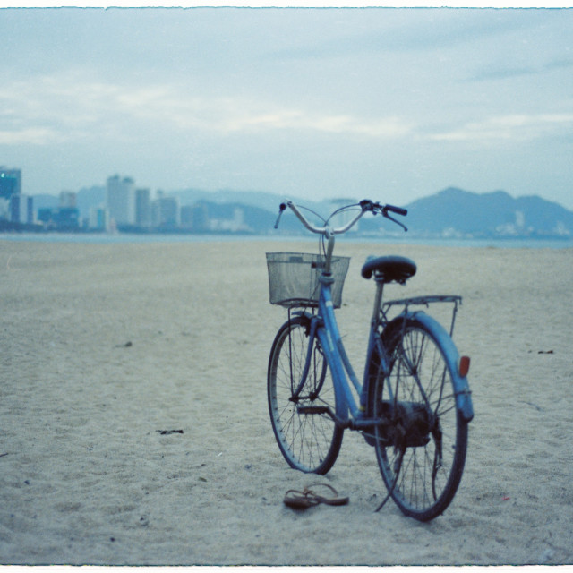 """A bycicle on the beach"" stock image"