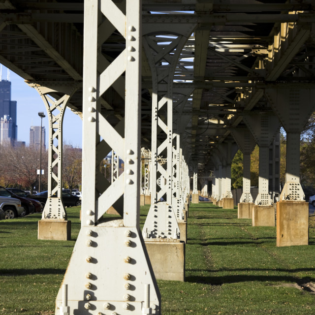 """Legs of the L train bridge"" stock image"