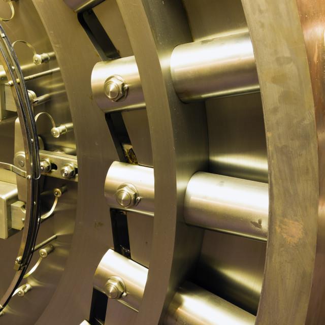 """""""Door in bank safe deposit room"""" stock image"""