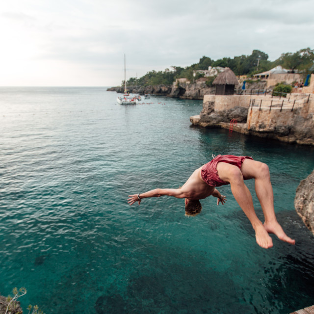 """backflipping in jamaica"" stock image"