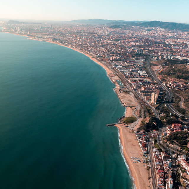 """sunny beaches in barcelona from heli"" stock image"