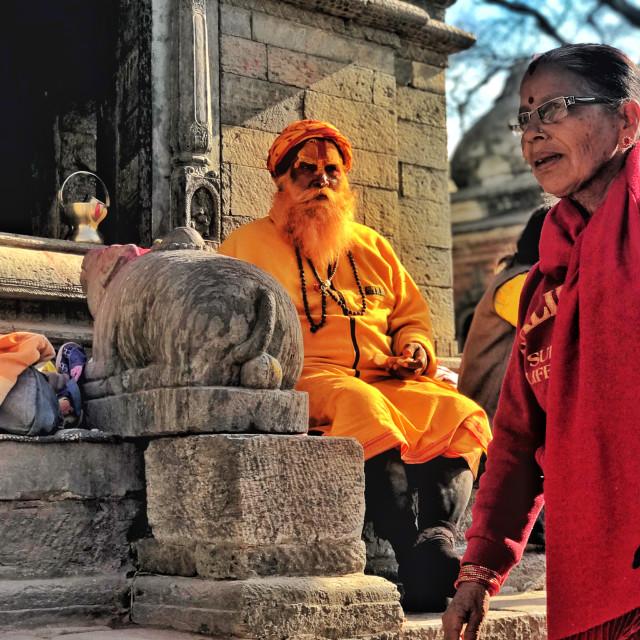 """Hindu priest and devotee"" stock image"