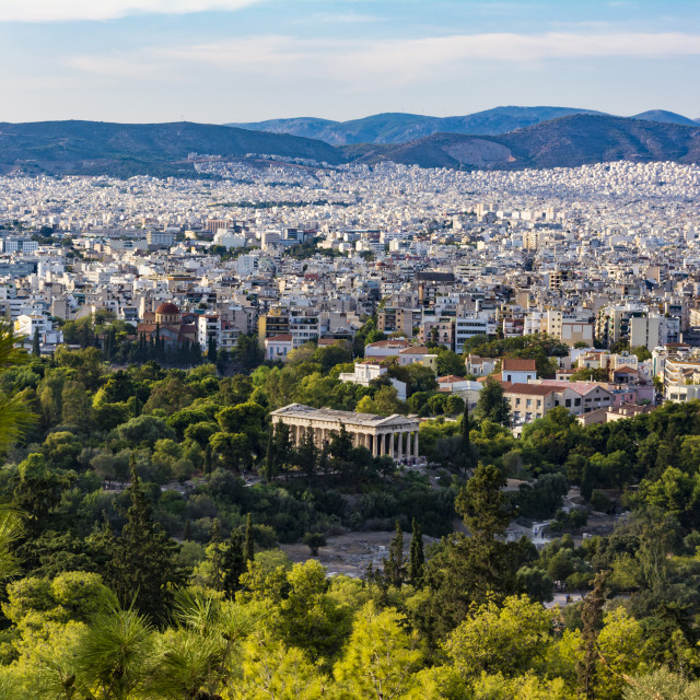 """""""View of Athens city with Temple of Hephaestus from Acropolis hill, Athens,..."""" stock image"""