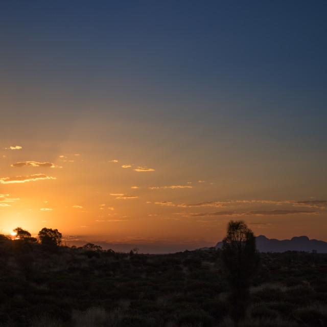 """""""Sunset in the desert over Kata-Tjuta / The Olgas"""" stock image"""