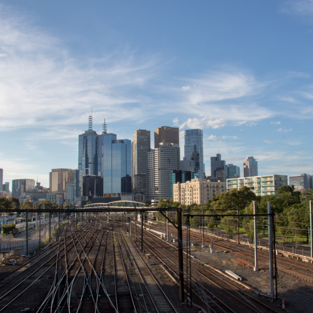 """Melbourne skyline"" stock image"