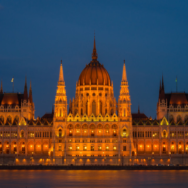 """The Hungarian Parliament Building in Budapest across the River Danube at dusk"" stock image"