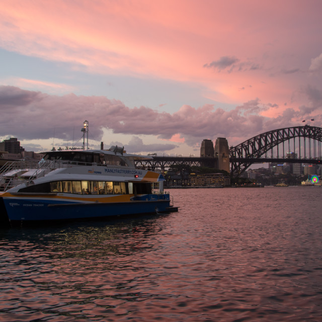 """Sydney Harbour Bridge sunset"" stock image"