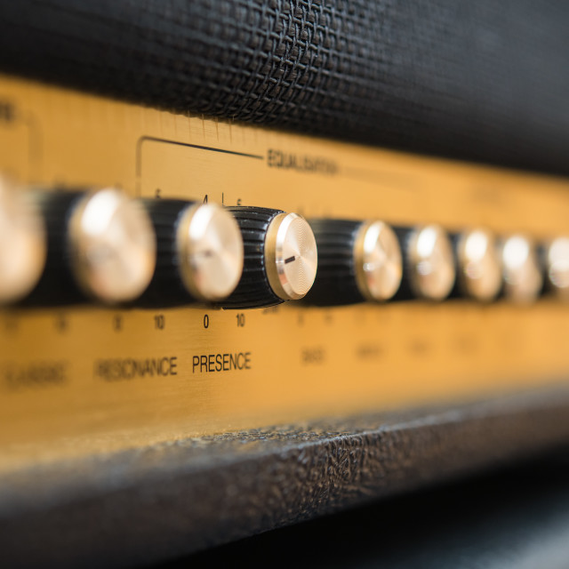 """Presence control concept amplifier knobs detail"" stock image"