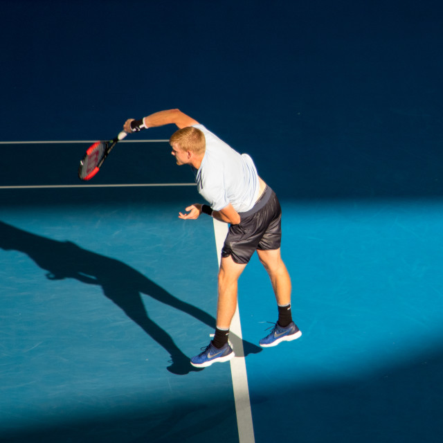 """Kyle Edmund serves at the Brisban International"" stock image"
