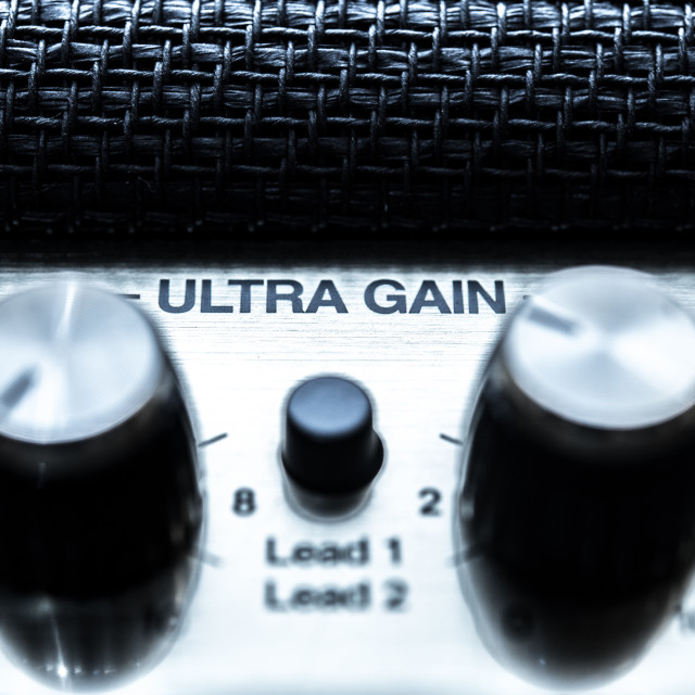 """Ultra gain volume control concept, guitar amplifier knobs detail"" stock image"