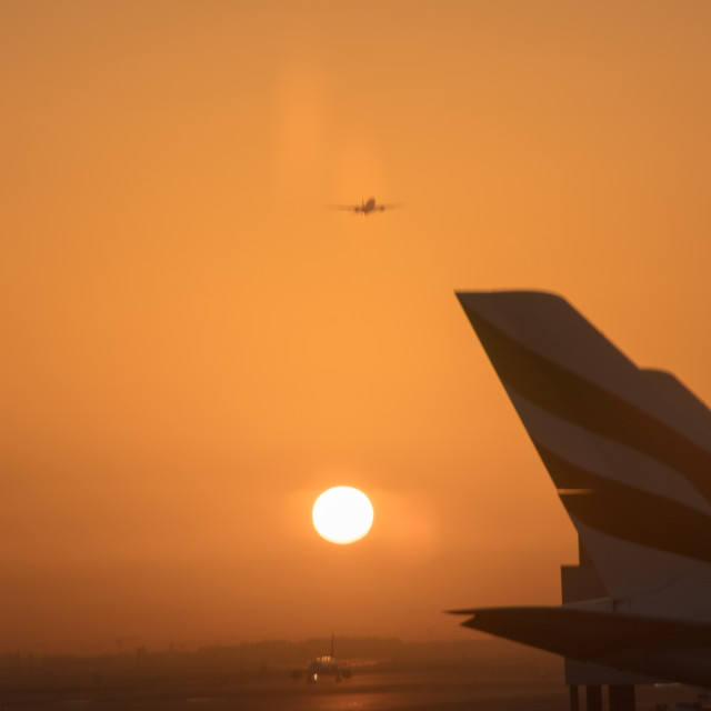 """Sunset at the airport"" stock image"