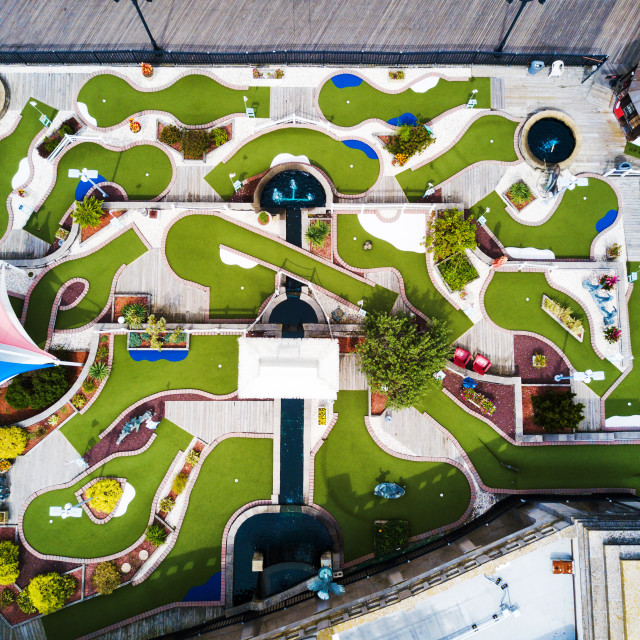 """Mini golf course aerial view"" stock image"