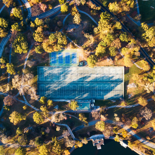 """""""Tennis courts in a park aerial view"""" stock image"""