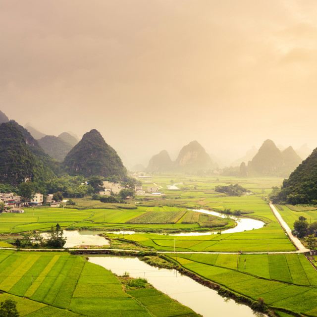 """Stunning rice fields and karst formations scenery in Guangxi pro"" stock image"