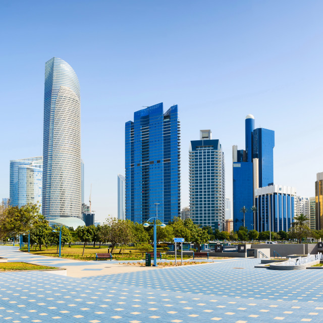 """Abu Dhabi panoramic view from the promenade with landmark skyscr"" stock image"
