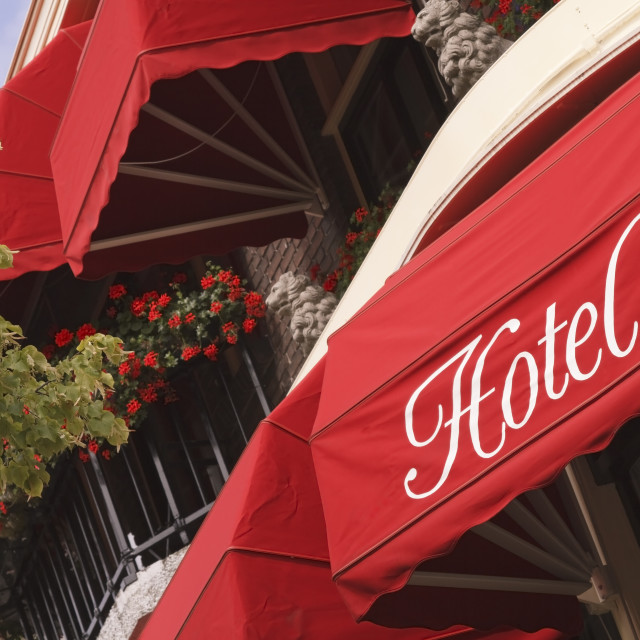 """""""Bright red hotel awnings"""" stock image"""
