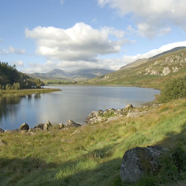 """Llyn Mymbyr,Snowdonia North Wales UK"" stock image"